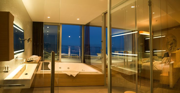 Bevanda, five stars #hotel in Croatia.The transparent #bathroom of the suite in front of the sea features our #Seaside #bathub. A dream!