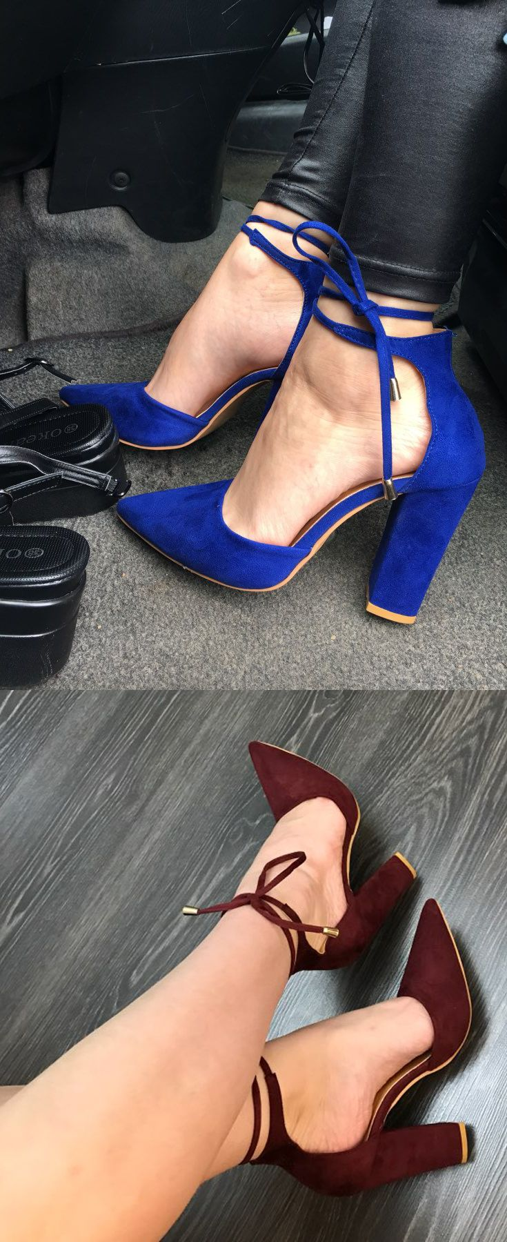 Buy the perfect casual heels, that work with any pair of jeans, dark denim, deep blue or ripped. These cute heels come in blue, black, red, deep blue, wine, tea, gray, purple, and brown.