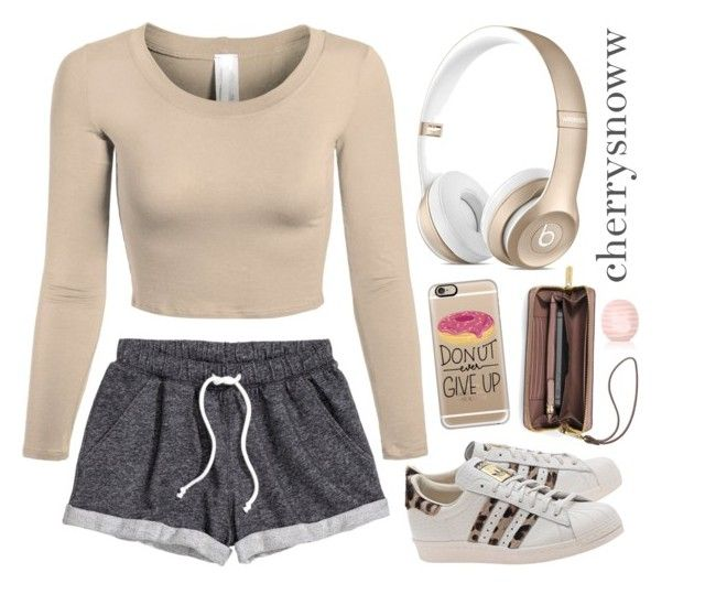 """""""Cozy cute casual swag outfit"""" by cherrysnoww ❤ liked on Polyvore featuring H&M, adidas Originals, Casetify, MICHAEL Michael Kors and Topshop"""