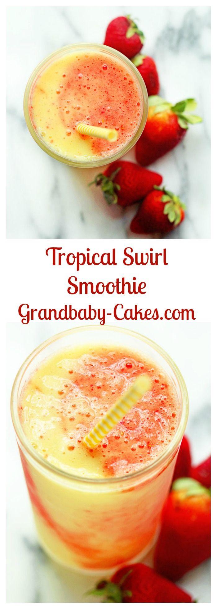 Tropical Strawberry Swirl Smoothies | Grandbaby-Cakes.com