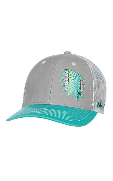 Ariat Turquoise and Grey with Serape Indian Chief Patch and White Mesh Snap  Back Cap  8138f1b3da8