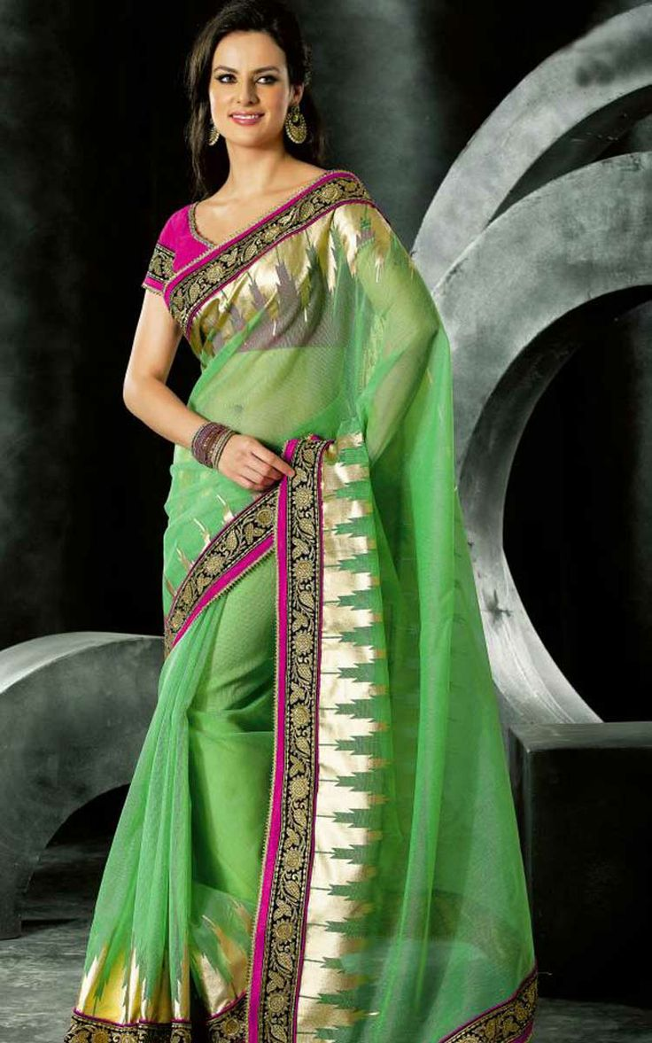 GREEN & PINK NET LATEST SAREE - VAL 5318
