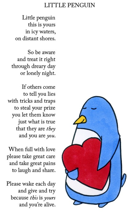 Little Penguin Poem. Everything about penguins makes my life better.