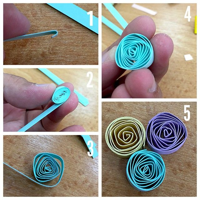 Tutorial: How to make quilling roses (vortex coil). 1. Fold instead of roll the…