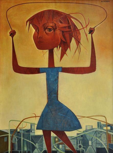 Mikulas Medek, Dívka ze švihadlem (Girl with Skipping Rope), oil on canvas, 130 x 94 cm.
