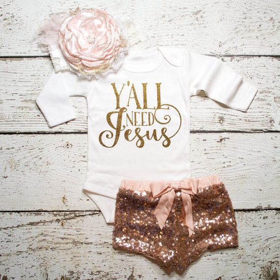 Baby Girl Clothes Y'all Need Jesus Shirt by ShopVivaLaGlitter