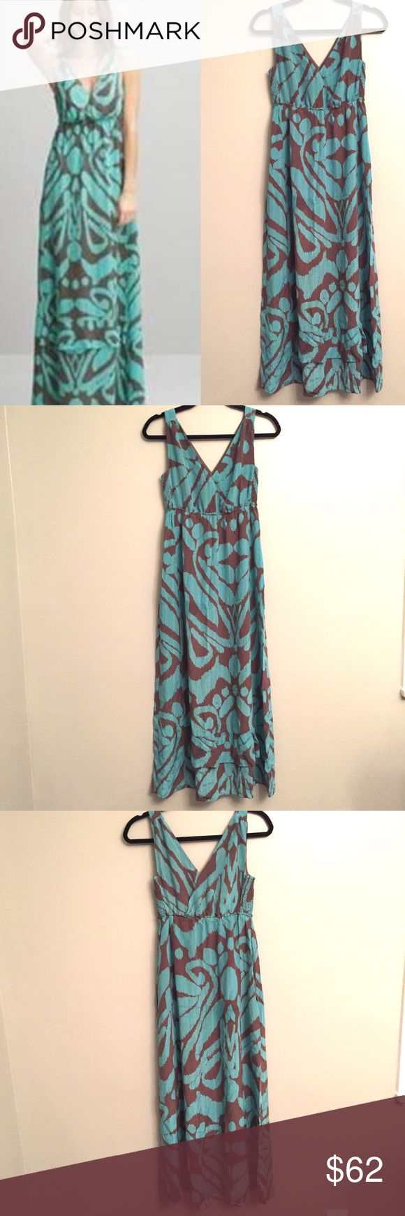 "BANANA REPUBLIC 100% Silk Maxi Dress Banana Republic empire waist maxi dress with a fun, oversized floral print. Light teal blue with a muted brown print. Low, surplice neckline in the front and back Elasticized empire waistline creating a blouson silhouette. A-line skirt with a wide ruffle at the hem. 100% silk; lined. Perfect for a nice summer day! Size 0. Excellent pre owned condition!!  Length from shoulder: 58"" Banana Republic Dresses Maxi"