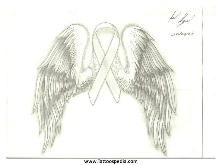 Lung Cancer Ribbon With Wings Tattoo