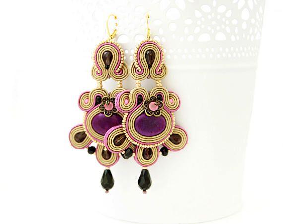 Purple chandelier earrings light brown soutache earrings