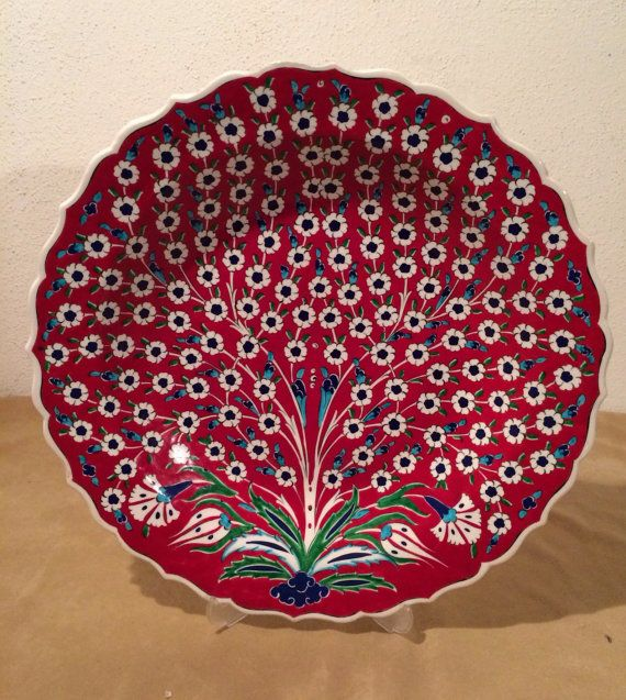 Free Shipping ! Turkish  Ceramic Hand Painted Large Plate, Decorative Plate  Tree of Life Pattern, wall plate, Red ceramic Plate