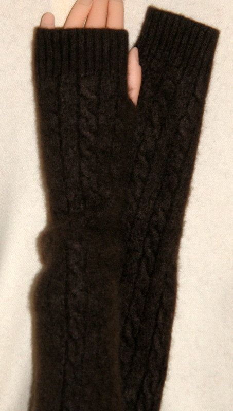 Knitting Pattern Cashmere Gloves : long chocolate Brown Cashmere armwarmer fingerless gloves ...