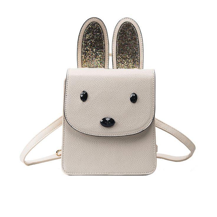 2017 Casual Women handbags sequins leather school Bags Rabbit Bunny Ears  Cute shoulder bags crossbody bags