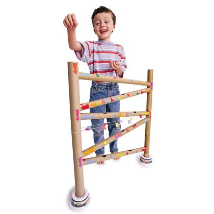 Make one of these cardboard towers , and your kids will be set for a rolling good time. The object is to see whose marble rolls the farthest once it exits the maze.  Materials  7 long wrapping paper or mailing tube  2 empty plastic margarine tubs  Box of uncooked rice  Pencil  Ruler  Scissors  Extra-large rubber bands