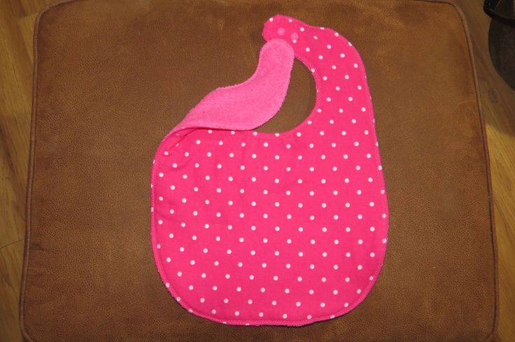 Young Girl's Bib  Bright Pink Child bib Reversible Flannel Terry Cloth bib Lined with batting Snaps Child Drool bib White polka dots girl by NammersCrafts on Etsy