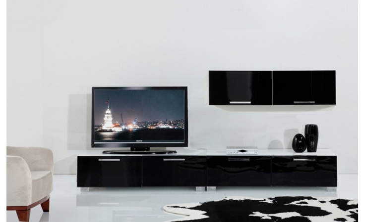 Amos High Gloss Black Tv Wall Unit 165 For The Home