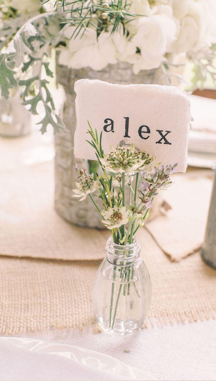 Glass Bud Vase Name Card Holders  Set Of 4