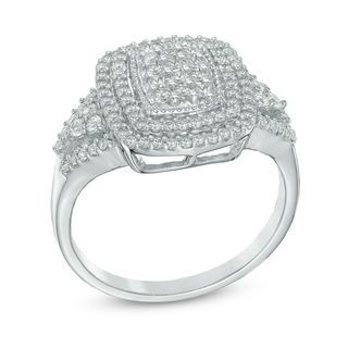 1/2 CT. T.W. Diamond Cluster Double Frame Ring in 10K White Gold | Online Exclusives | Collections | Zales