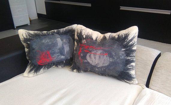 Gray Felt Cushion Felt Cushion Handmade Pillow Felt Pillow