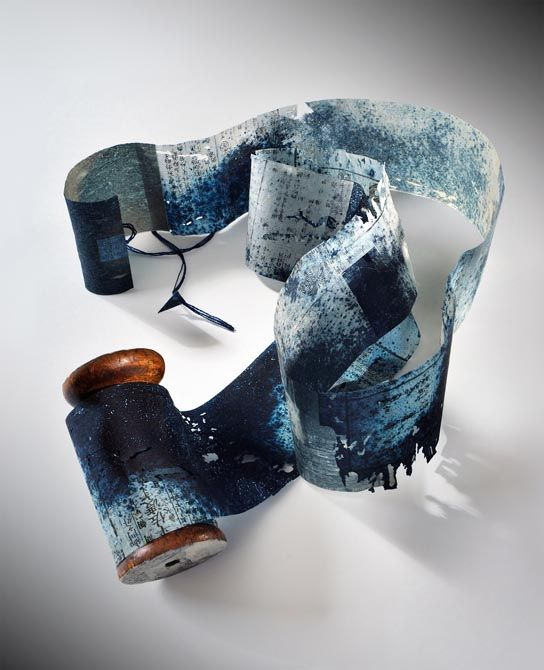 Yuko Kimura - Indigo Spool Book, 2012, aquatint on old bookpages from Japan, thread, wooden spool