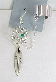Native American Navajo Dreamcatcher feather earring cuff sterling silver turquoise