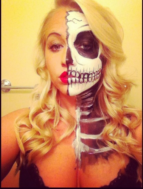Halloween makeup. Wonder if I can get my family to be skeleton's for Halloween. LOVE this!