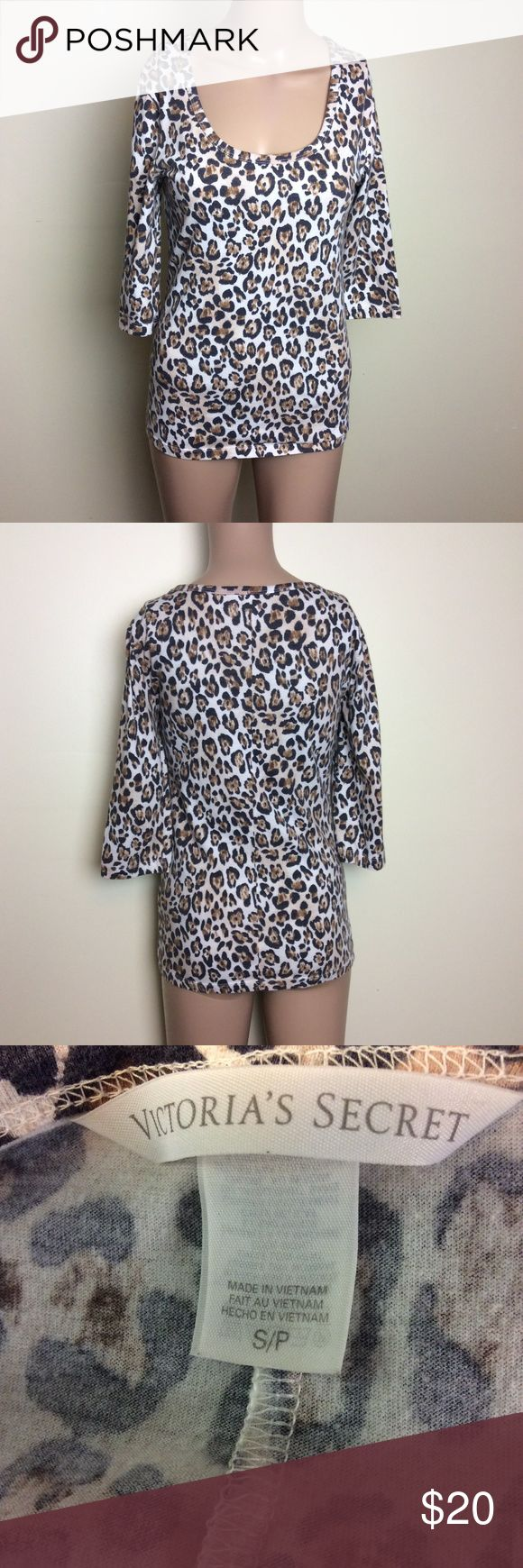 Victorias Secret Animal Print Tee Victorias Secret leopard/animal print 3/4 sleeve tee no known flaws Size small 60% cotton, 40% polyester Victoria's Secret Tops