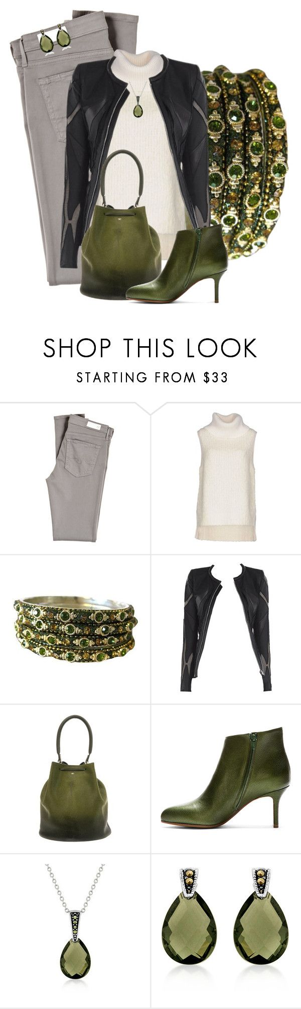 """""""Deep Green Teardrops"""" by michigangirl84 ❤ liked on Polyvore featuring AG Adriano Goldschmied, rag & bone, Allegra, Anya Hindmarch, Maison Margiela, Fantasy Jewelry Box and Bali"""
