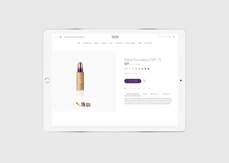 Tarte Cosmetics E-commerce on Behance