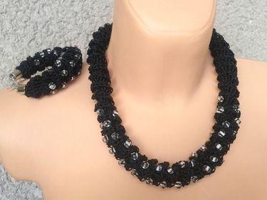 Häkeln Halskette und Armband-Set
