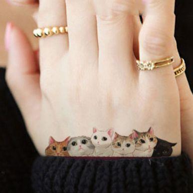 Waterproof Hình Xăm Tạm Thời Sticker đáng yêu mèo dễ thương hình xăm con mèo Chuyển Nước sexy fake tattoo flash tattoo đối với gái phụ nữ trẻ em