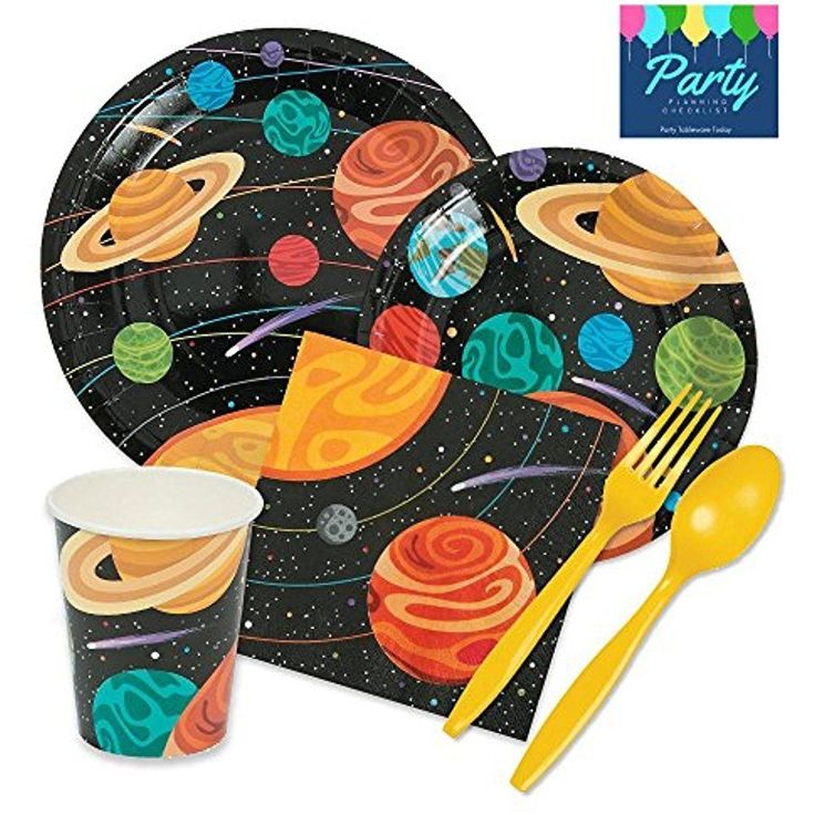 Space Party Packs Supplies For 16 Guests Includes Plates, Napkins, Cups, And By #Doesnotapply