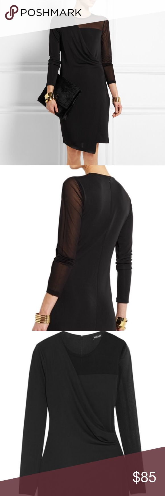 NWT DKNY Mesh-Paneled Dress Brand new! Made from a slinky satin-Jersey that's paneled with mesh along the sleeve. Flattering wrap effect skirt, fluid draped overlay that hugs in all the right places. Mid-weight, stretchy fabric. Fits true to size. Dkny Dresses Midi