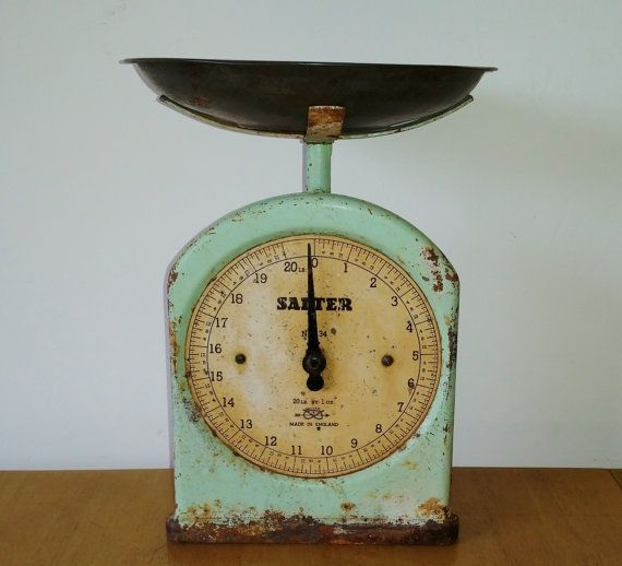 Vintage Kitchen Scales Green Salter Weighing by darcyelizavintage