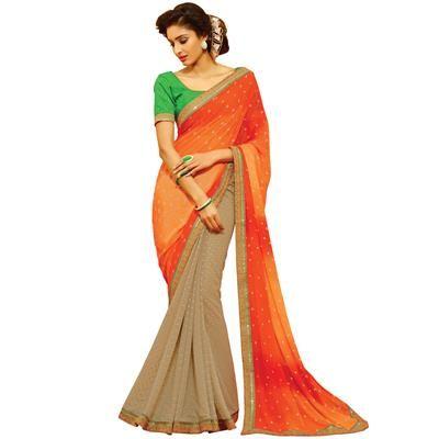 Buy Orange Colour Patch Border Work Georgette Designer Saree-402 by undefined…