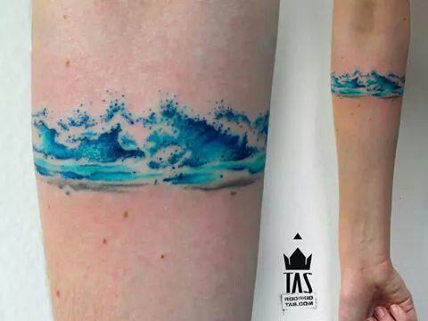 watercolor Tas Tattoo sea waves water