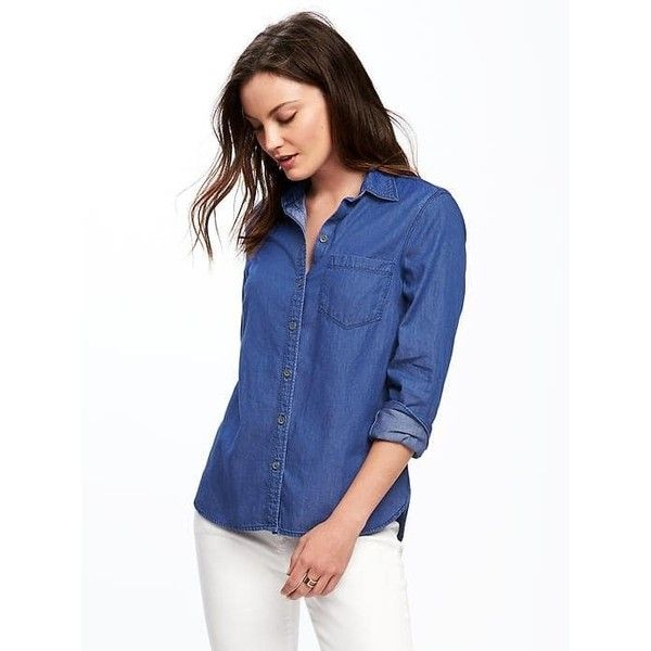 Old Navy Womens Classic Chambray Shirt ($22) ❤ liked on Polyvore featuring tops, blue, petite, blue chambray shirt, fitted tops, long sleeve shirts, old navy and petite long sleeve tops