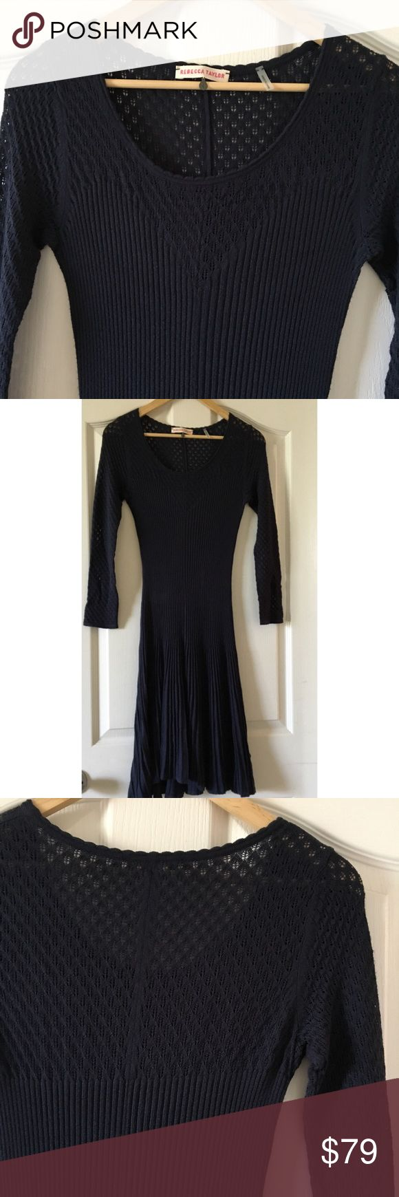 Rebecca Taylor Navy Blue Light Knitted Dress Beautiful Dress . Great for Fall . Accentuates curves . Its a light knit . Soft  65% Rayon 35% Nylon . New without Tags . Neiman Marcus dress Original 395. See online for Fitting Guidelines on her dresses . Rebecca Taylor Dresses Long Sleeve