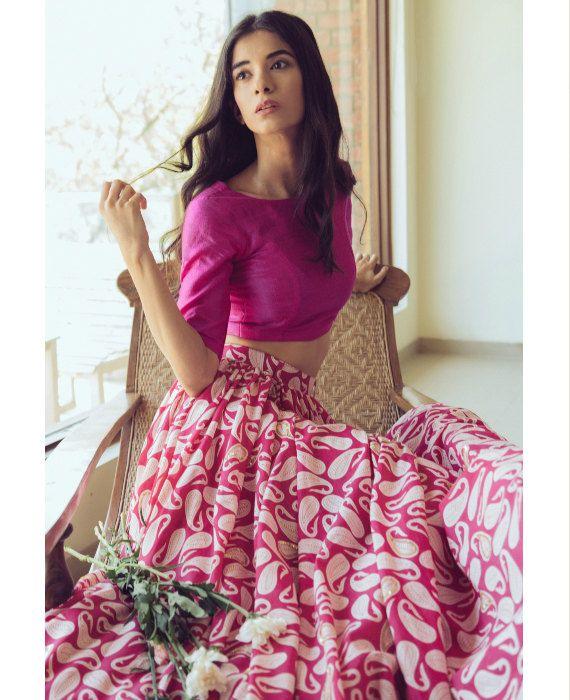 Hand Block Printed Pink & White Paisley Print Lehenga Set in Cotton and Raw Silk