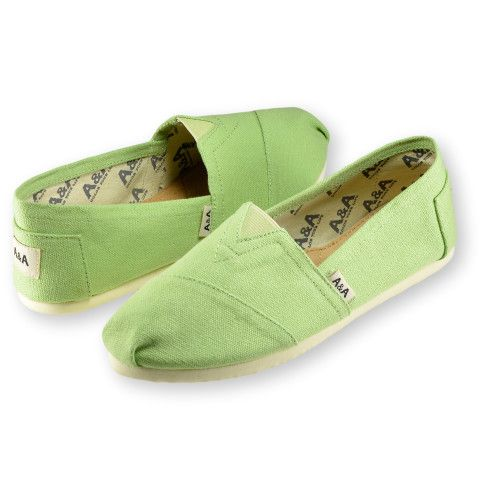 A&A Green Espadrille Flats Canvas Shoes Alpargatas for Women