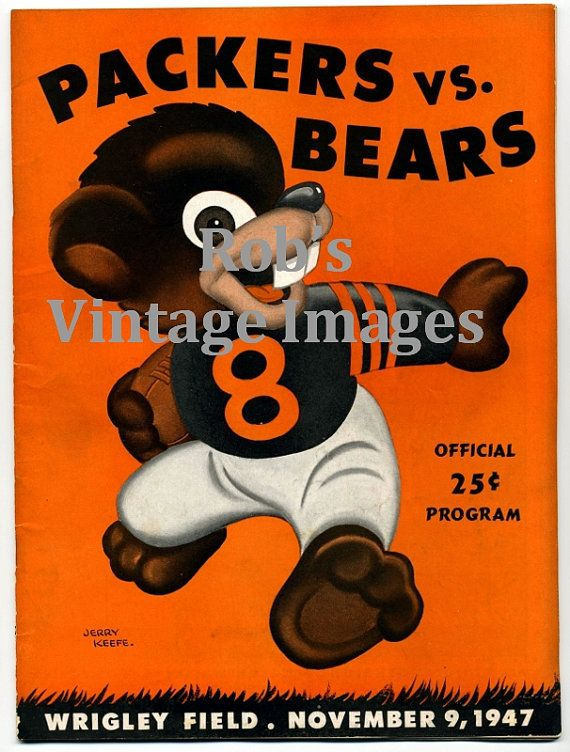 Green Bay Packers  Chicago Bears  Wrigley Field Vintage Game  Program cover Poster 1947 NFL Reprint. $8.99, via Etsy.