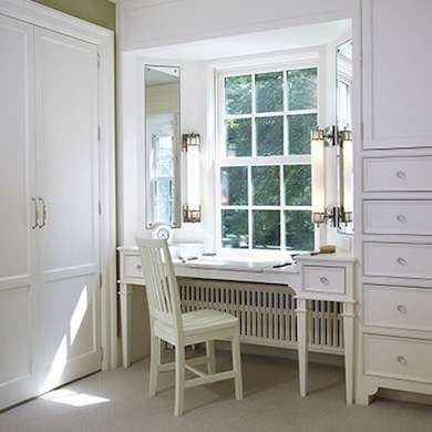 White Bedroom Vanity: idea for radiator in our bedroom? if we used a tiny corner seat it wouldn't cut in to floor space too much..