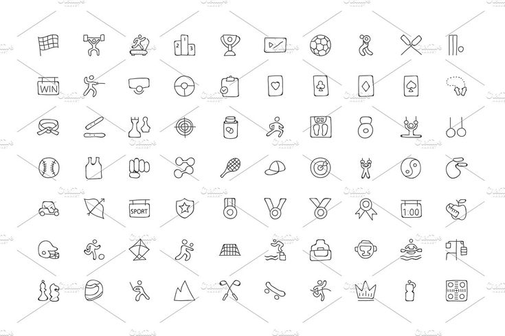 200 Sports Hand Drawn Doodle Icons by Creative Stall on @creativemarket