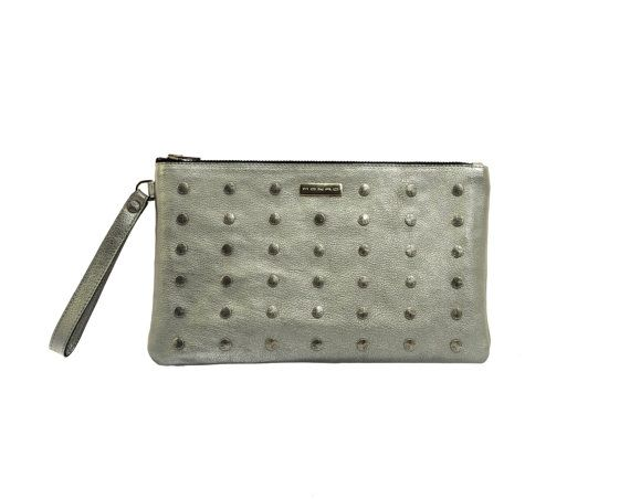 Silver leather clutch, Silver clutch, Rivet clutch