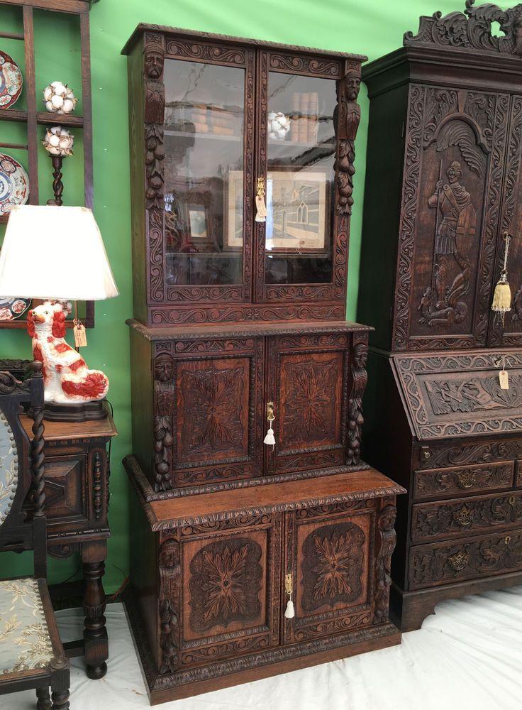 Antique English Carved Tiger Oak Bookcase Cabinet Renaissance Bookshelf  Farm #Renaissance - 45 Best Antique English Furniture Images On Pinterest Jacobean
