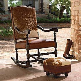 western rocking chair: Decor, Hiding Rocker, Hiding Rocks, Rocks Chairs, Cowhide Furniture, Grandma Rocker, Cows Hiding, Chairs 8682, Hair Hiding