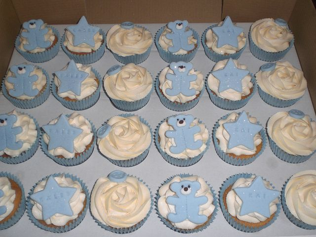 Twin boys Christening cupcakes by Pink Lily Cakes, via Flickr