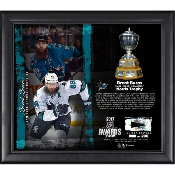 "Brent Burns San Jose Sharks Fanatics Authentic Framed 15"" x 17"" 2017 Norris Trophy Winner Collage with a Piece of Game-Used Puck - Limited Edition of 288 - $89.99"