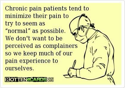 "Chronic migraine patients tend to minimize their pain to try to seem as ""normal"" as possible...  Yes I do!"