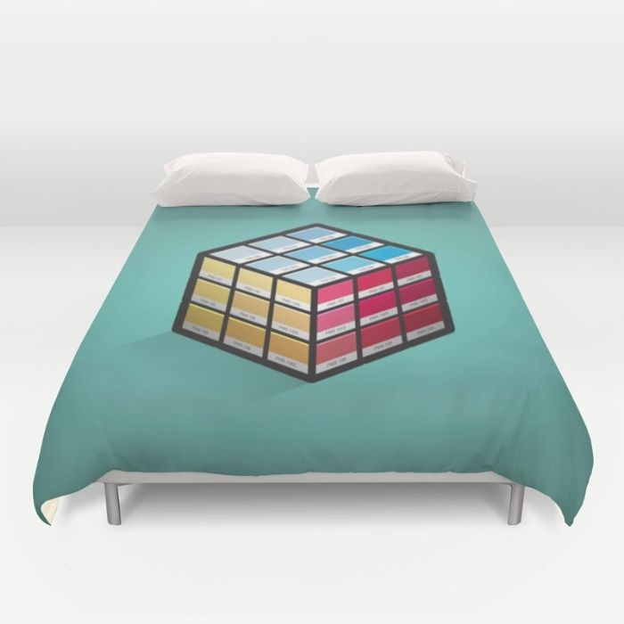 Pancube Duvet Cover - Pantone, PMS, colour, colours, matching, swatch, swatches, Rubik's cube, game, puzzle, primary, red, yellow, blue, graphic design, designer, prepress, preflight, vector, art, design, illustration, cube, cubes, design, illusion