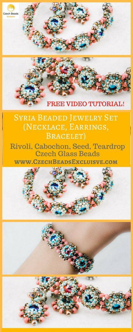 Rivoli, Cabochon, Seed, Teardrop Czech Glass Beads - Syria Beaded Jewelry Set (Necklace, Earrings, Bracelet) Free Video Tutorial -> SAVE it! Here is the new and very exclusive cabochon rivoli necklace pattern! More precisely, we have prepared a free rivoli bracelet, necklace and earrings pattern called Syria Beaded Jewelry Set! All you need in order to repeat this glass cabochon tutorial is your inspiration, beading box and free time! We hope you�ll enjoy the creation of this cabochon beads…